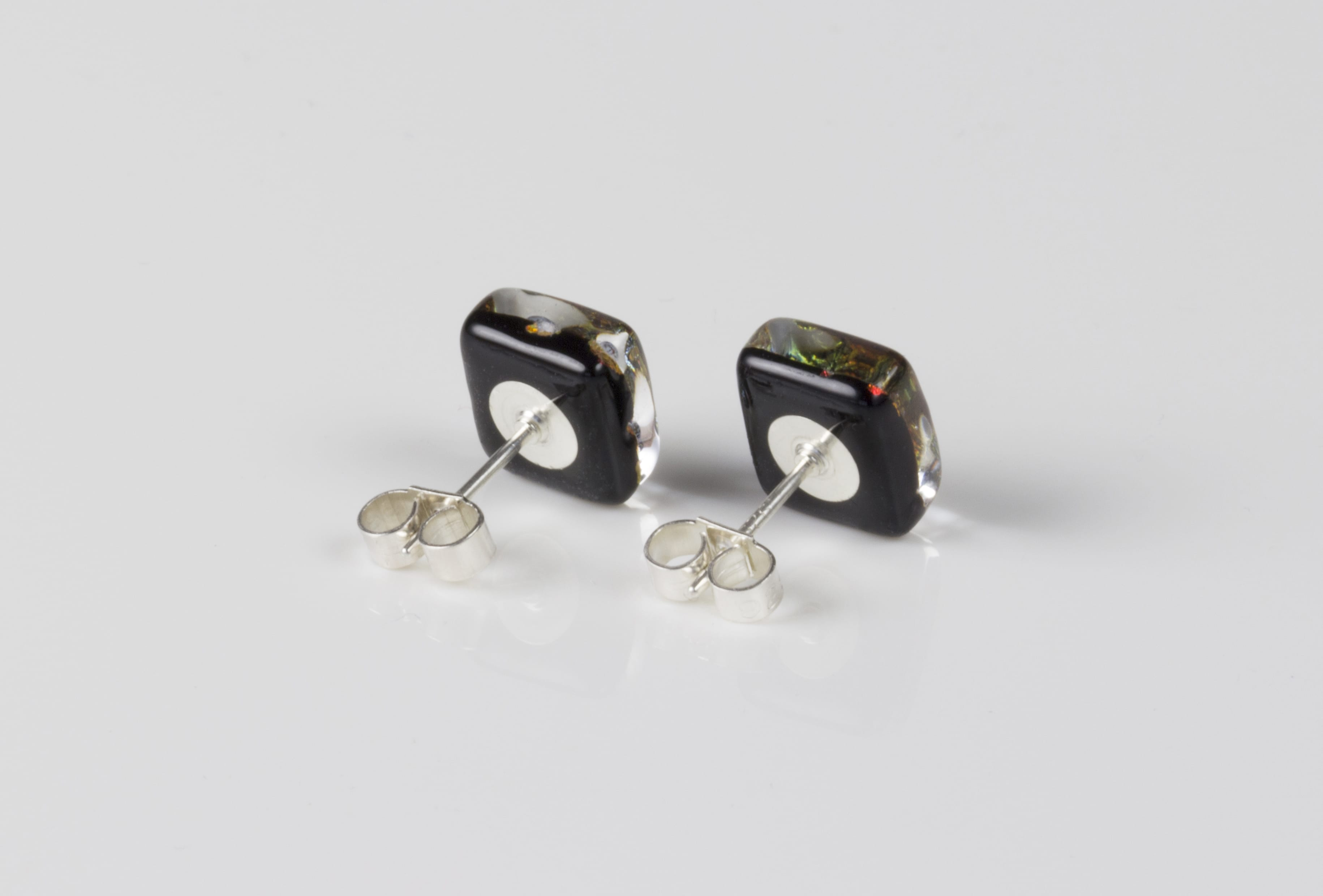 Dichroic glass jewellery uk, Handmade Earrings 2 tone pink glass earrings, stud earrings with sterling silver posts, square, glass 8-10mm