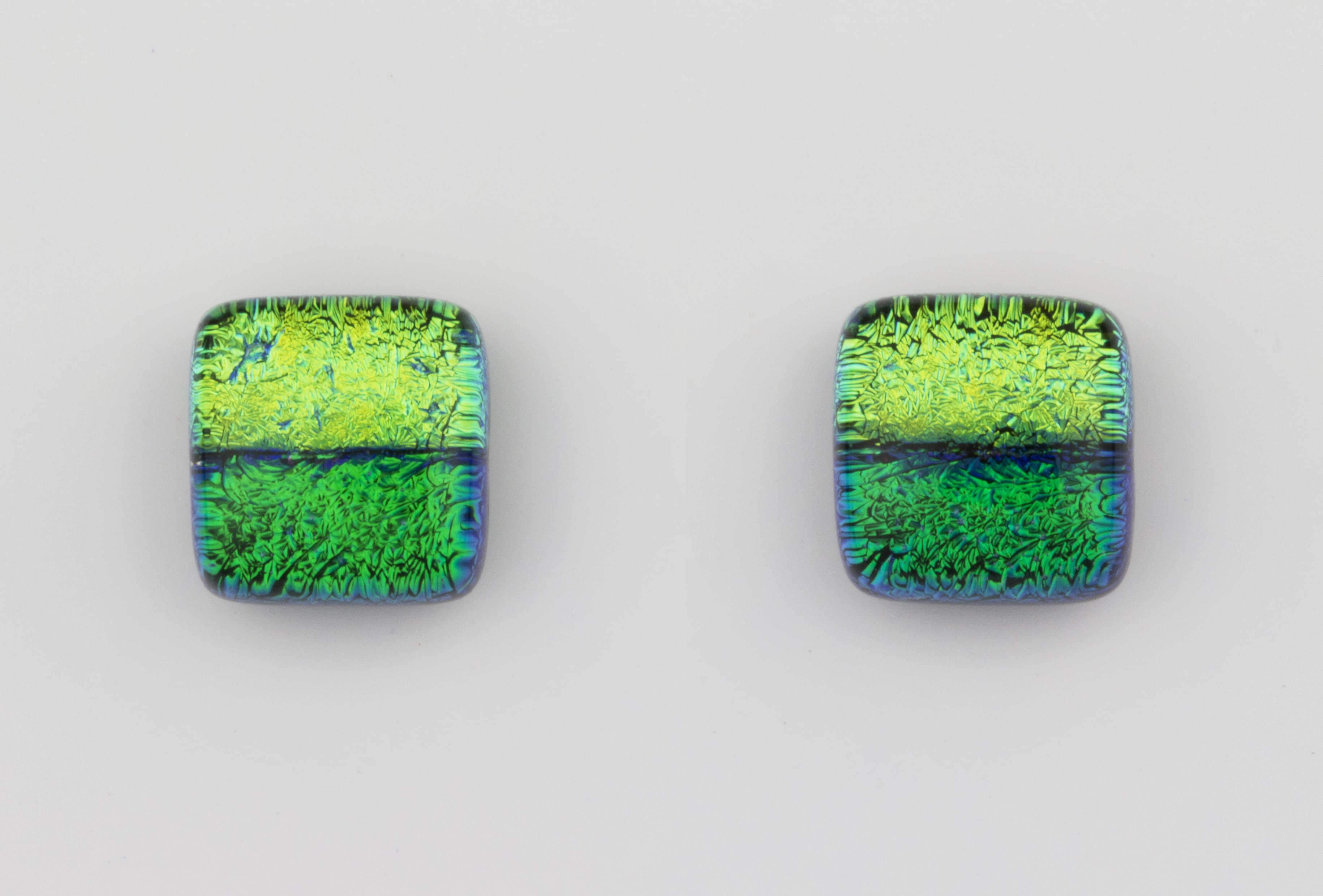 Dichroic glass jewellery uk, Handmade Earrings 2 tone green glass earrings with sterling silver posts, square, glass 8-10mm