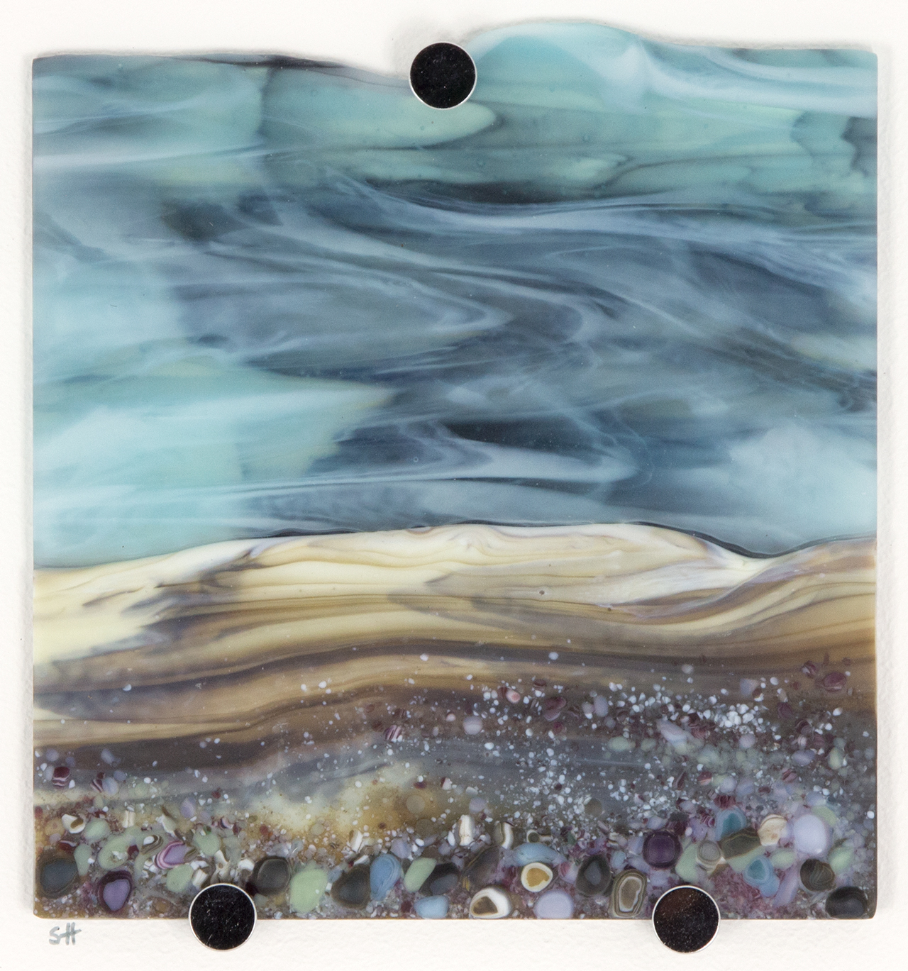 Glass Wall Art, ethereal welsh coastal landscapes, wisps of cloud on a pale blue sky, pastoral shades of frit in foreground.