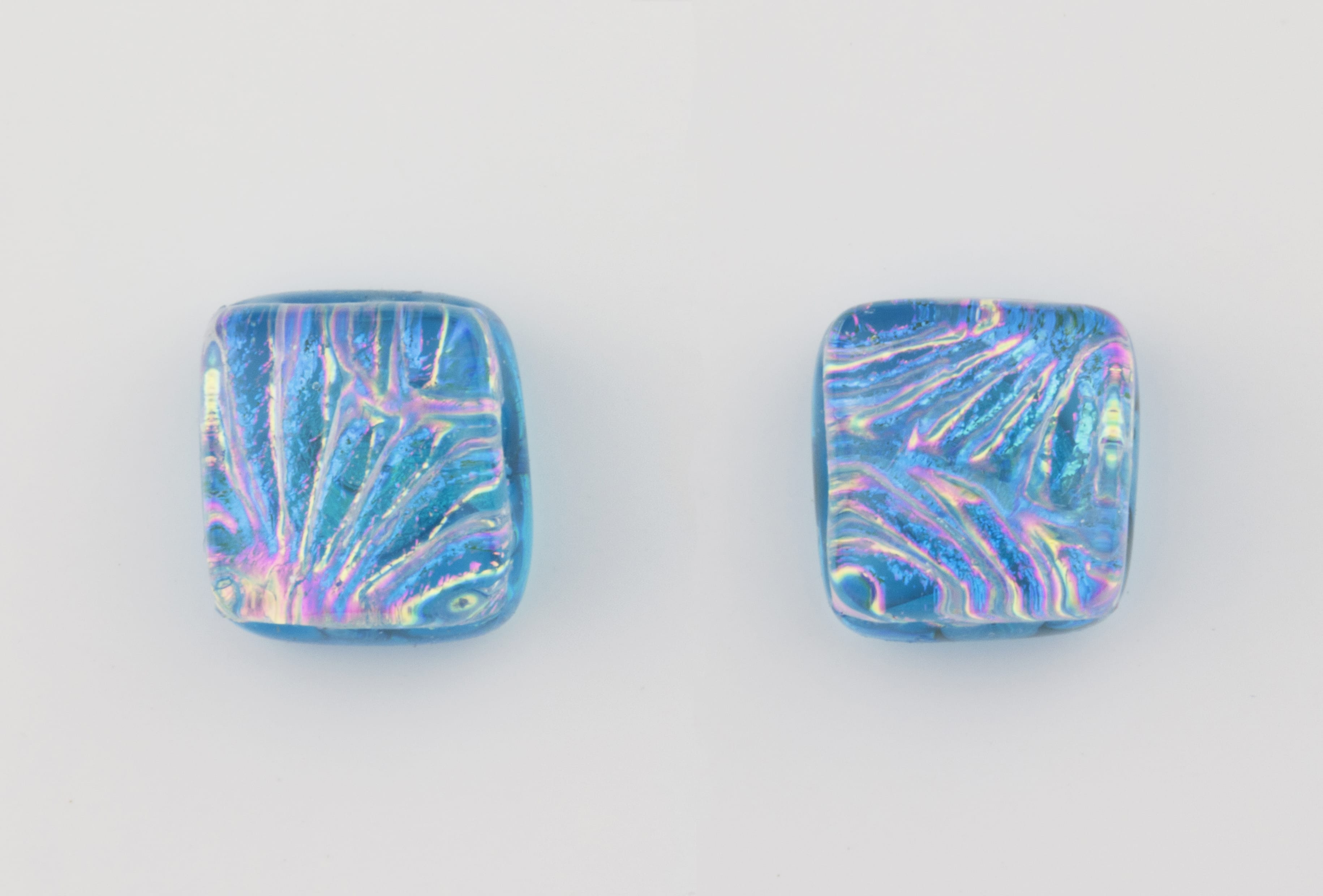Dichroic glass jewellery uk, handmade blue stud earrings with dichroic starburst pattern, square, glass 8-10mm, sterling silver