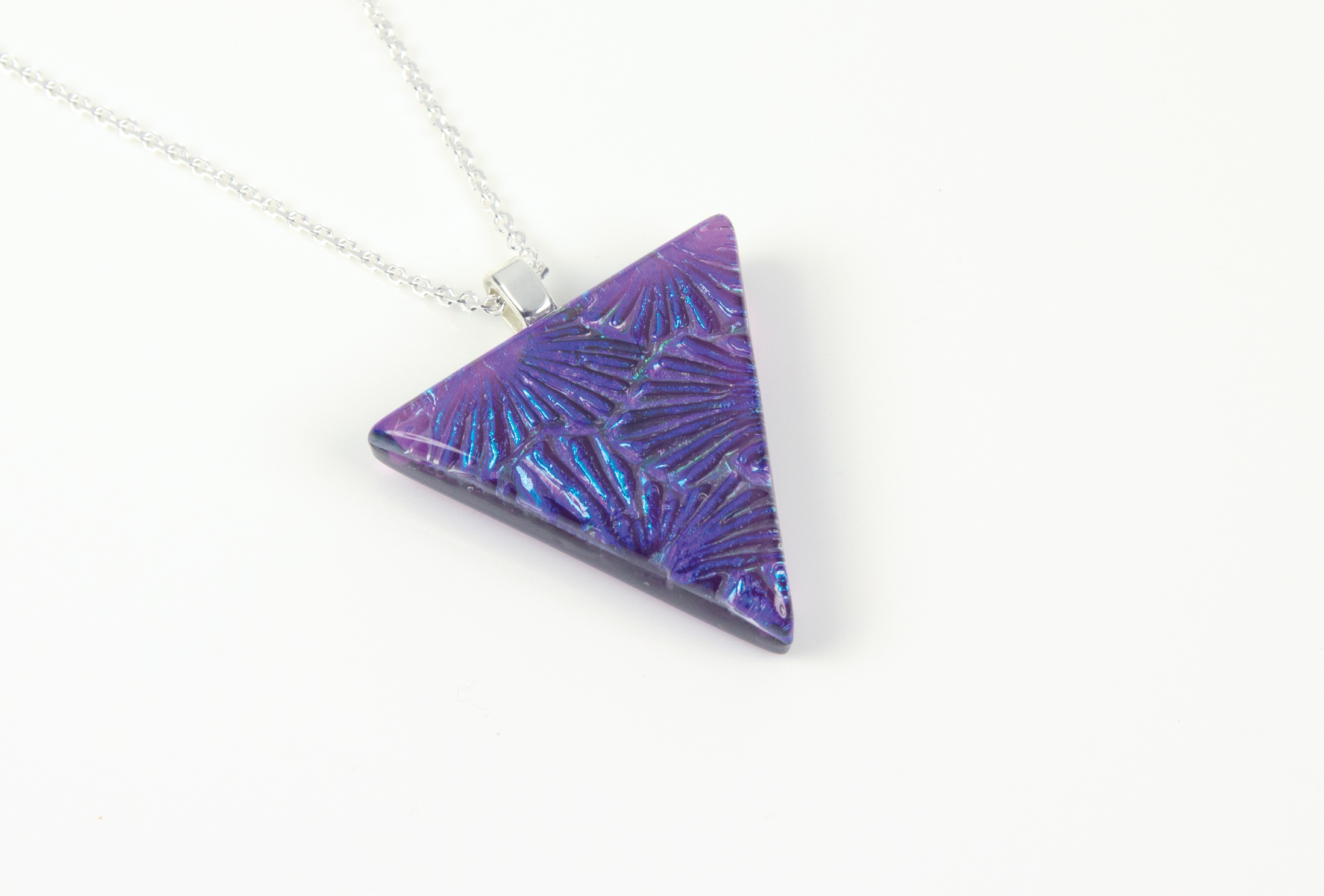"""Handmade glass pendant uk, purple florentine pattern backed with violet purple transparent glass. Sterling silver 16""""-18"""" chain."""