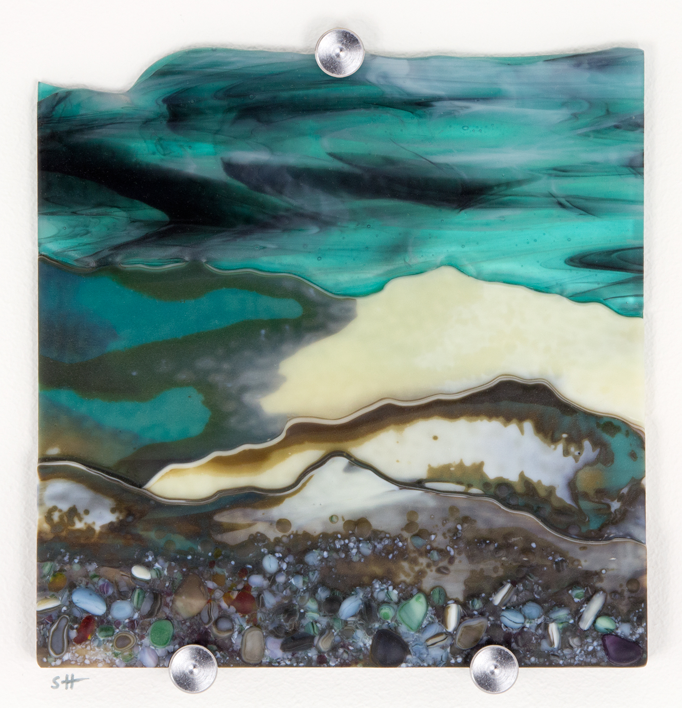 Glass Wall Art, welsh landscape Border Country, with aqua blue sky clouds art, vanilla/greens/grey with glass frits in foreground.