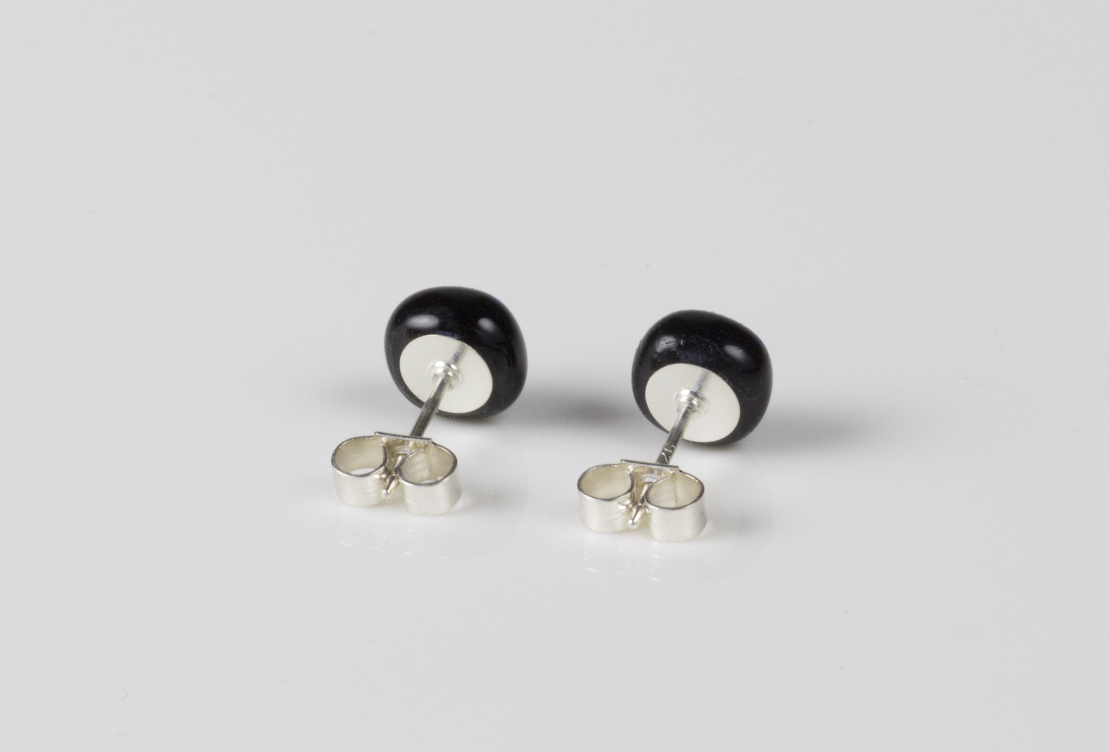 Dichroic glass jewellery uk, handmade stud earrings with pale blue dichroic glass, round, sterling glass 7-9mm, silver posts.