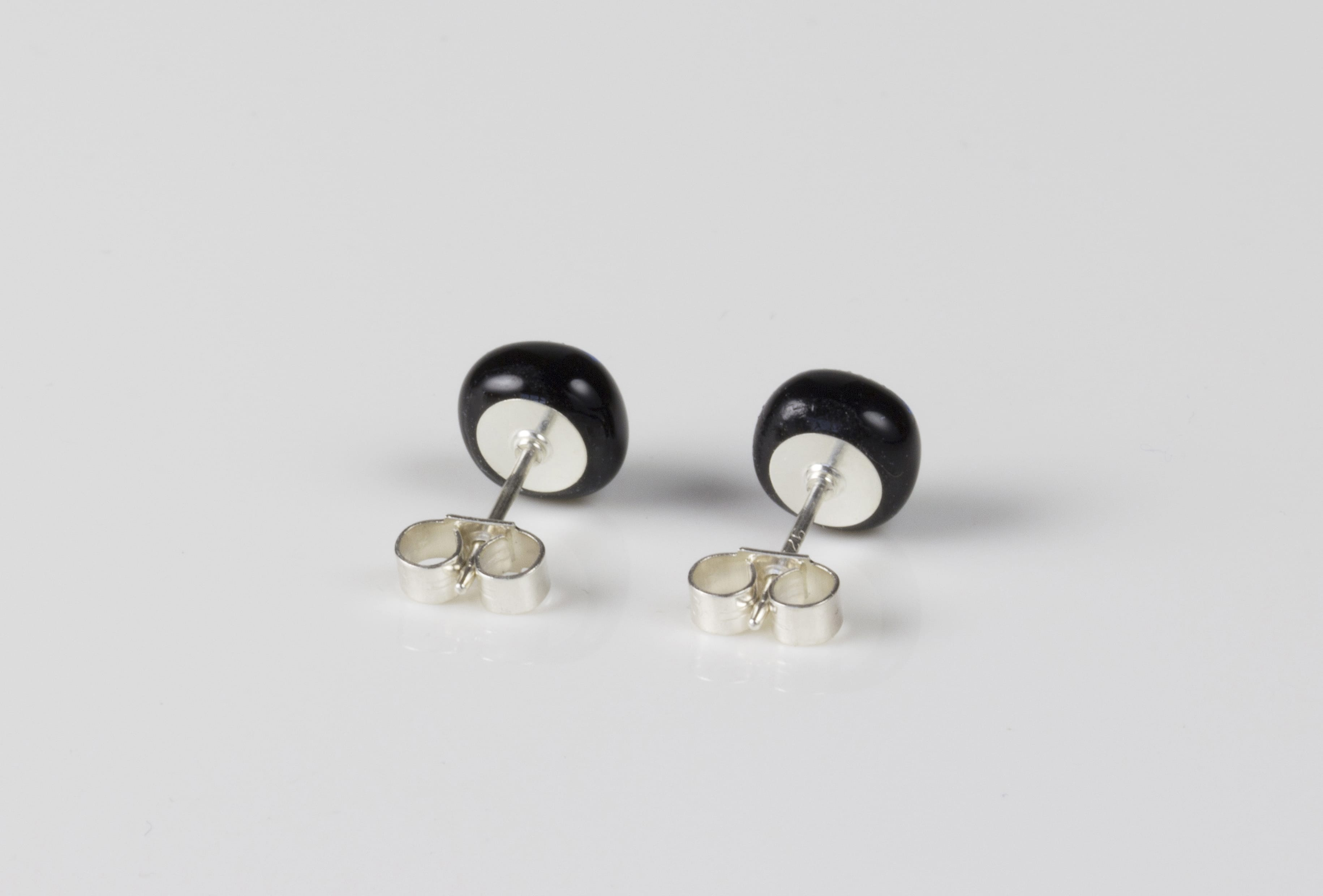 Dichroic glass jewellery uk, handmade stud earrings with pale pink dichroic glass, round, sterling glass 7-9mm, silver posts.