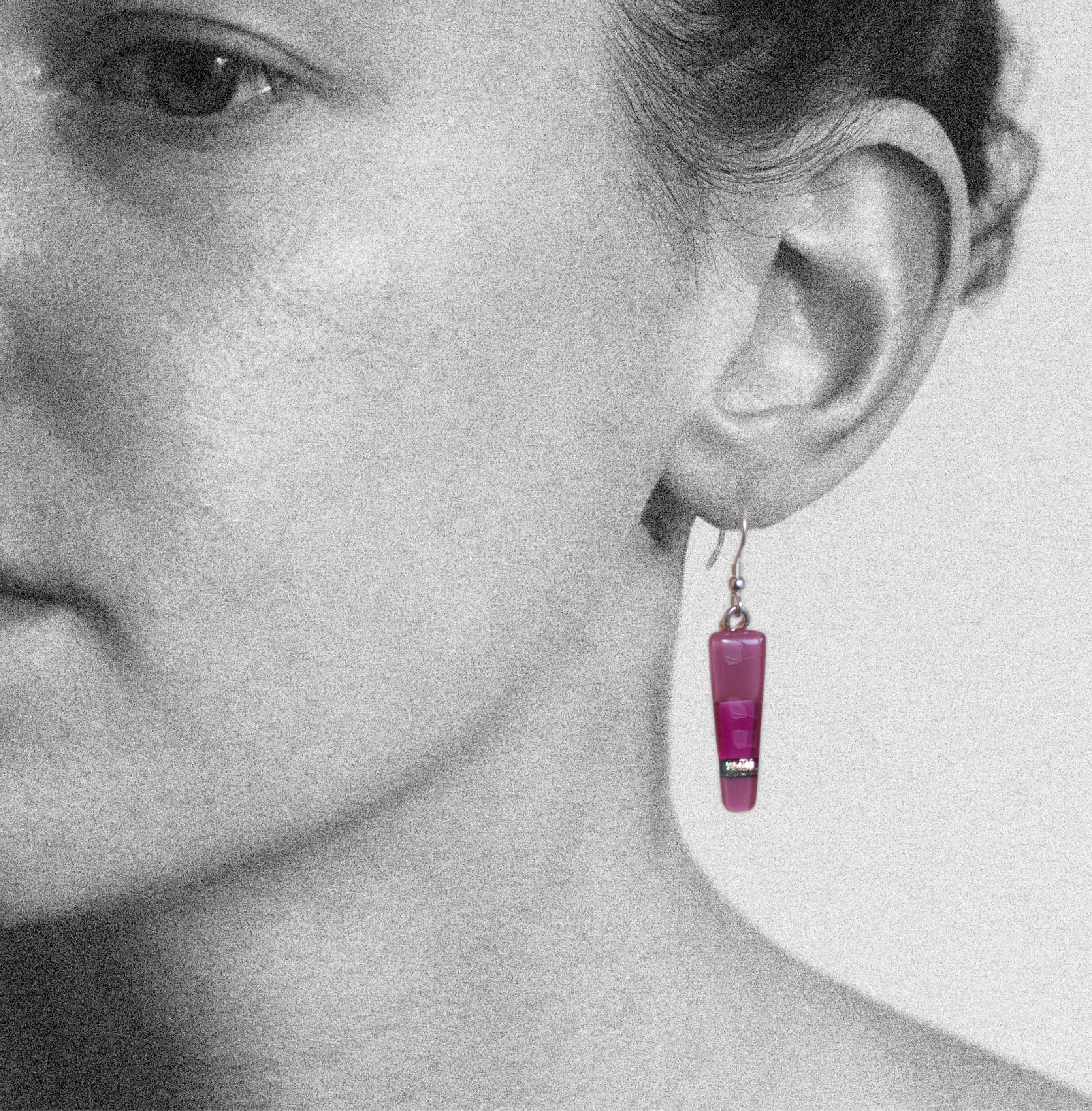 Dichroic glass jewellery, glass drop earrings, tapered pink earrings with transparent, opaque and dichroic glass, art glass earrings handmade in Shropshire, sterling silver hooks