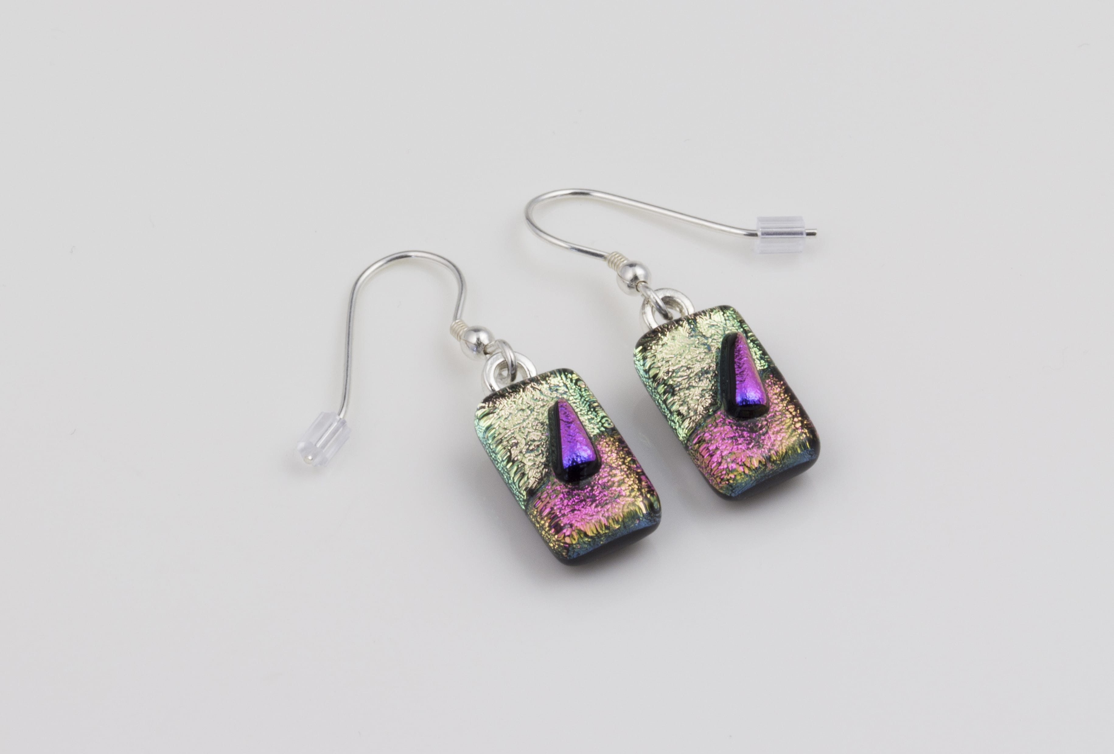 Dichroic glass jewellery drop earrings, tapered pink glass earrings in 3 tones of pink, art glass earrings handmade in Shropshire, sterling silver hooks