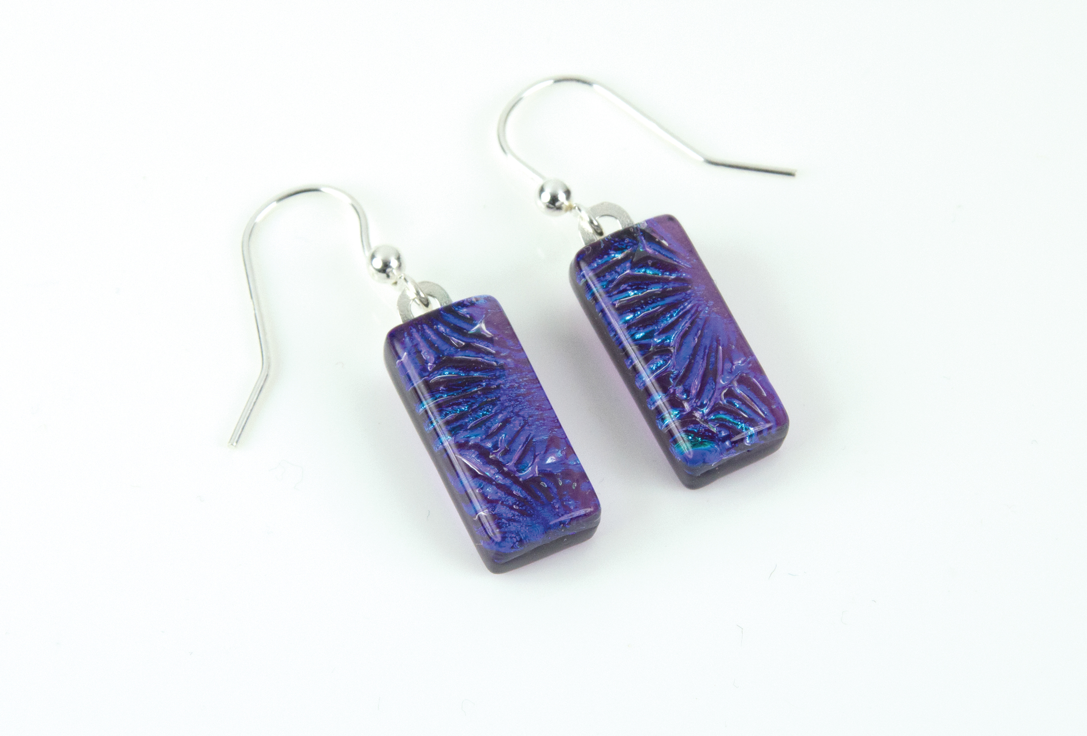 Dichroic glass jewellery, glass drop earrings with purple/violet dichroic glass starburst glass, sterling silver hooks