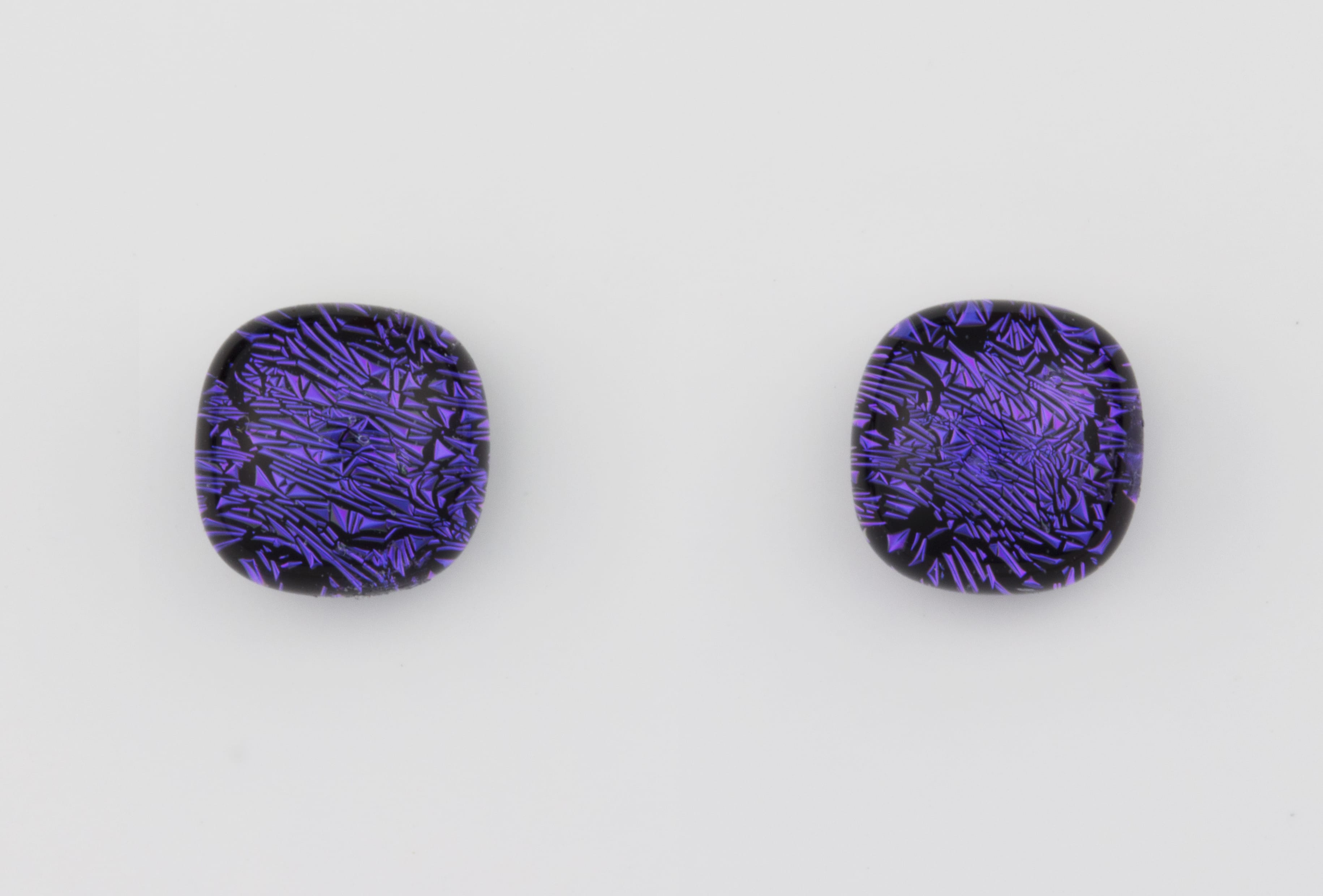 Dichroic glass jewellery uk, handmade stud earrings with purple dichroic glass, round, sterling glass 7-9mm, silver posts.