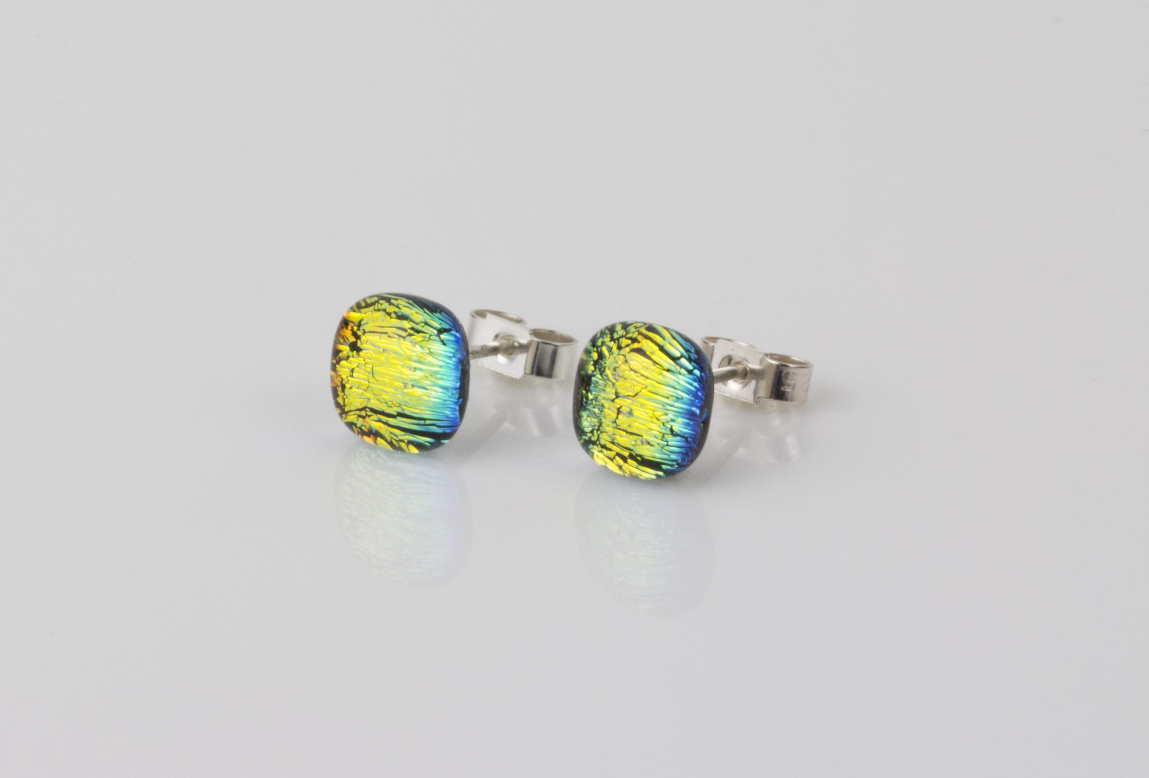 Dichroic glass jewellery uk, handmade stud earrings with rainbow colours dichroic glass, round, sterling glass 7-9mm, silver posts.