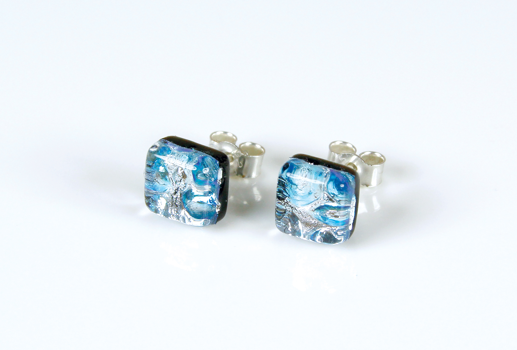 Dichroic glass jewellery uk, handmade stud earrings with silver/ice blue dichroic glass, square, sterling glass 7-10mm, silver posts.