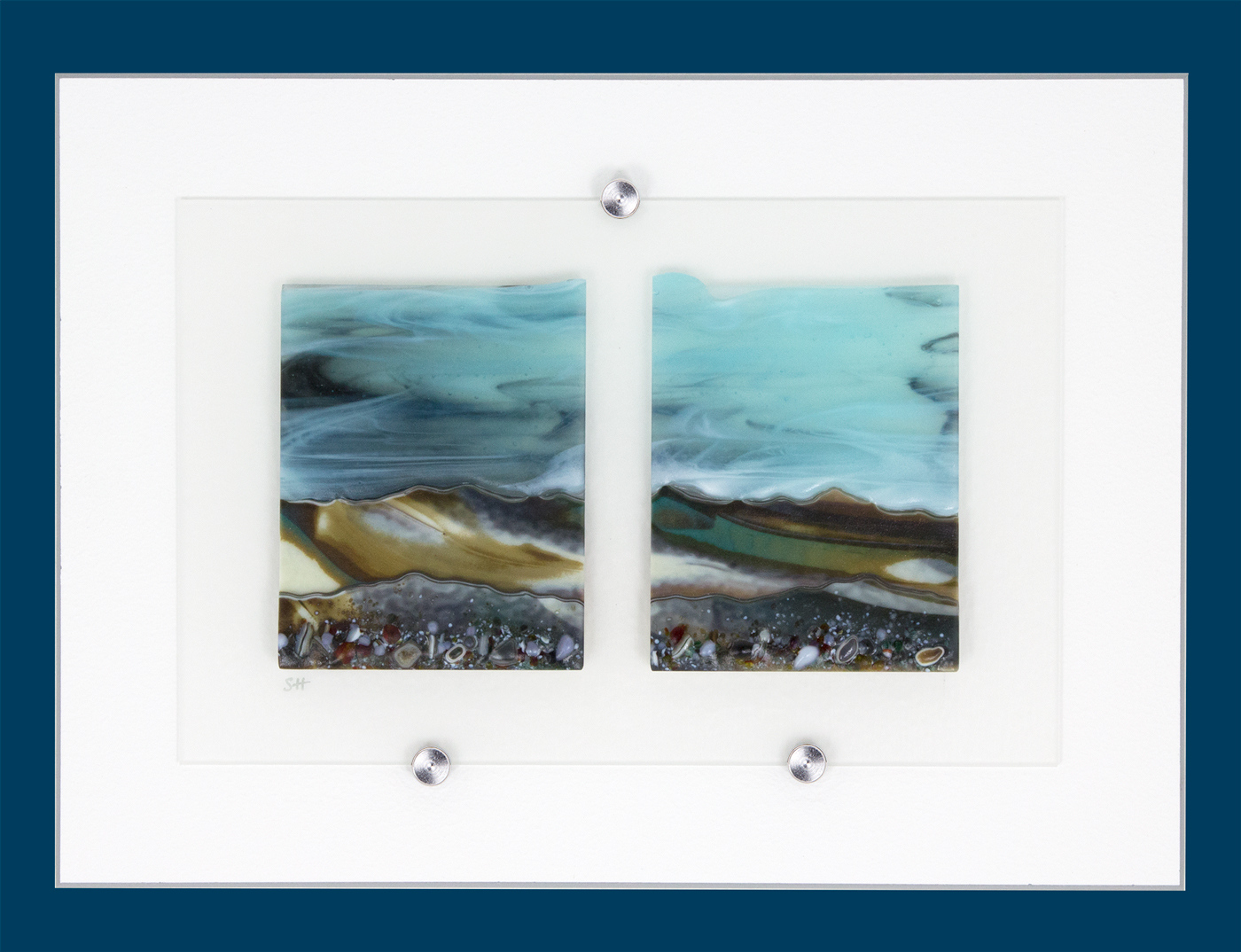 Glass Wall Art, landscape diptych with calm pale blue sky, landscape teal/browns/vanilla headland with a mix of coloured glass frits in foreground.