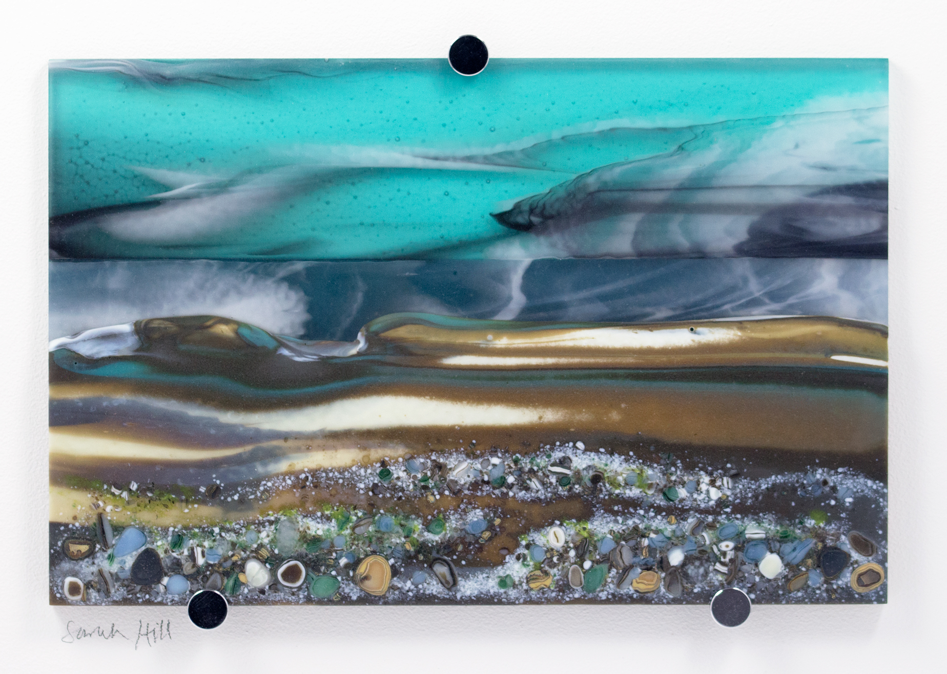 Glass Wall Art, coastal landscapes based on welsh landscape, with light aqua blue yet moody stormy sky clouds art, french vanilla and greens/grey with glass frits in foreground.