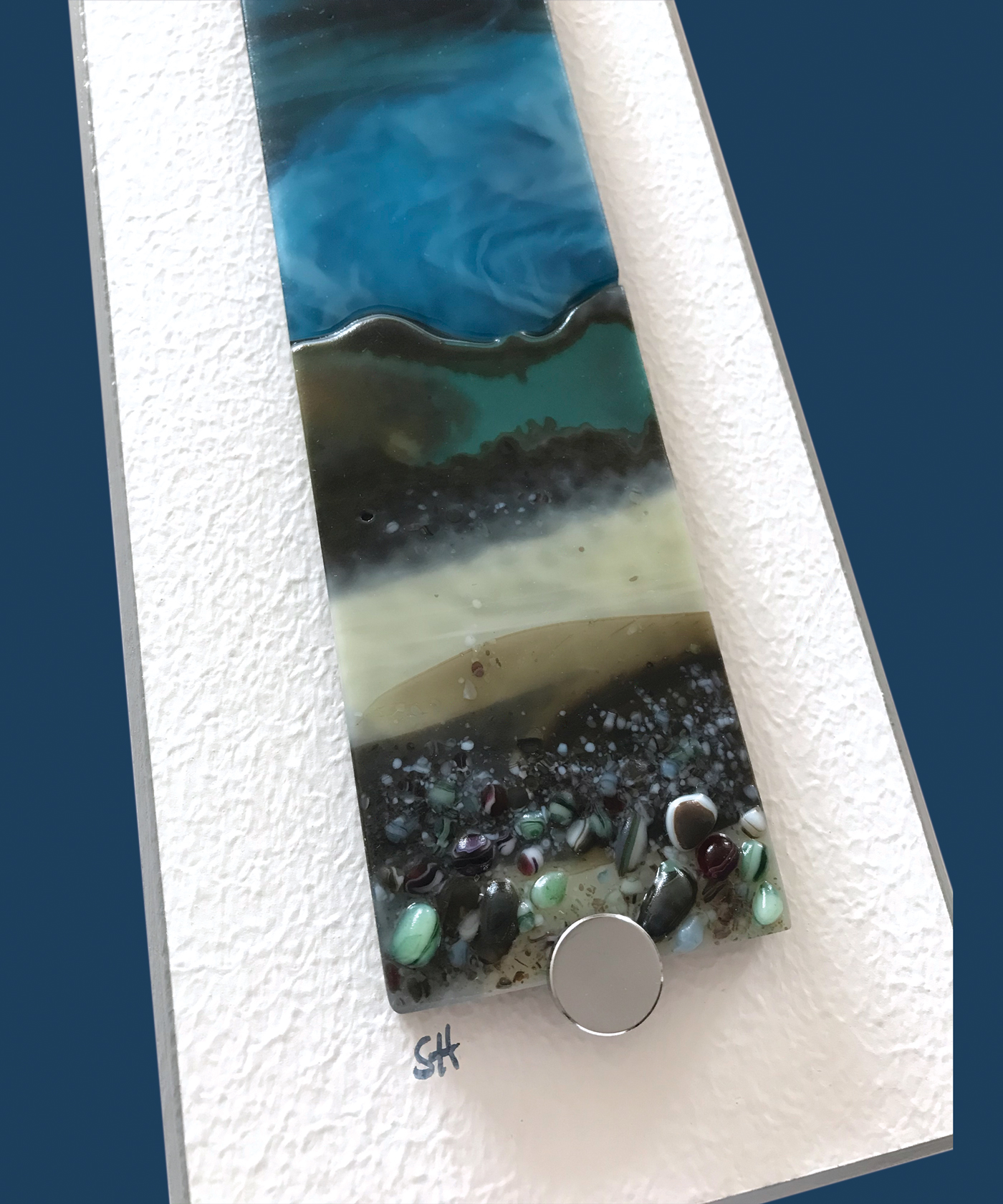 Winter Landscapes fused glass wall art, moody landscapes – greens/browns/vanilla foreground and dark blue sky. Satin finish