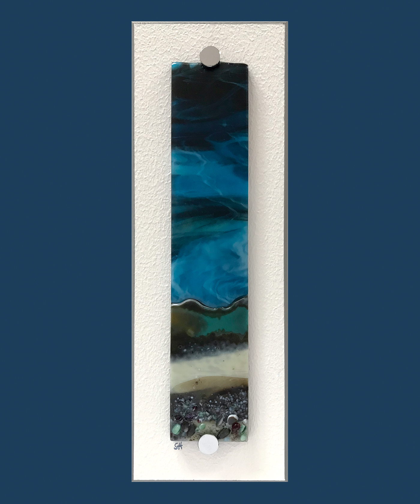 Winter Landscapes fused glass wall art, moody landscapes – greens/browns/vanilla foreground and dark blue sky. Satin finish.