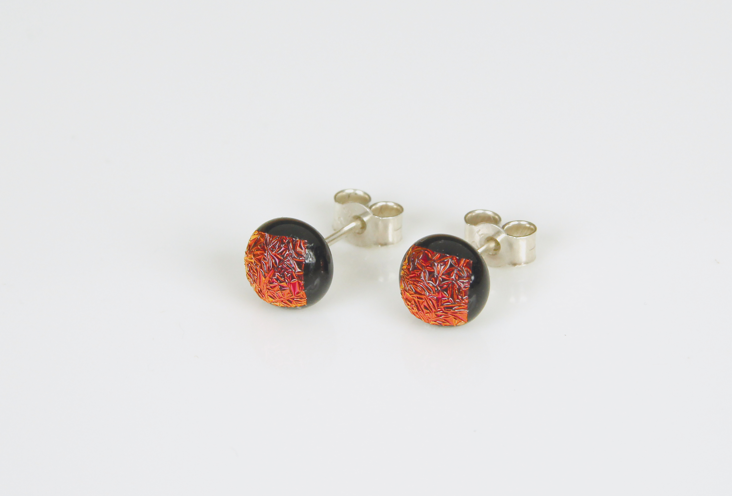 Dichroic glass jewellery uk, handmade stud earrings with copper red dichroic glass, round, sterling glass 7mm, silver posts.