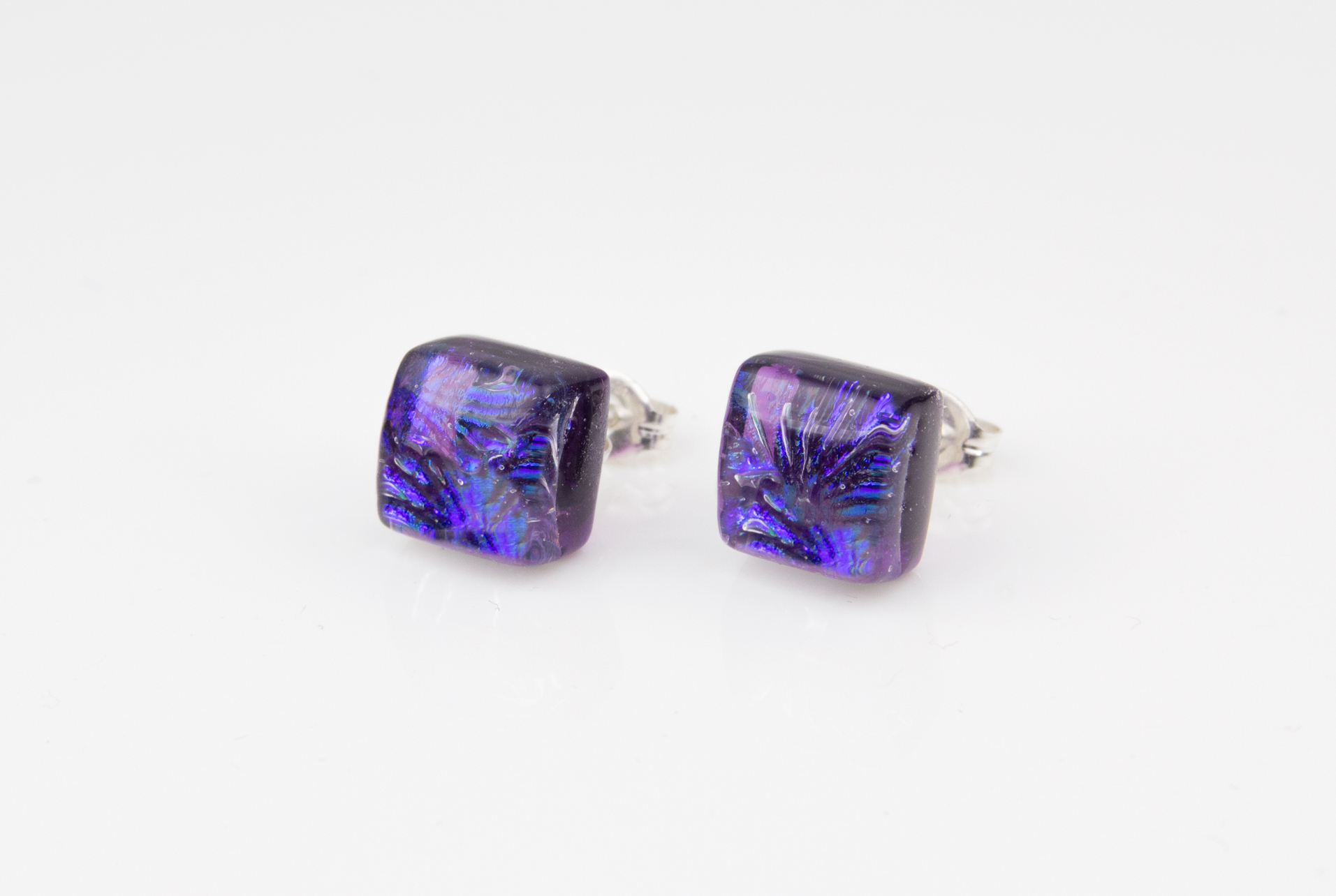 Dichroic glass jewellery uk, handmade violet stud earrings with dichroic starburst pattern, square, glass 8-10mm, sterling silver