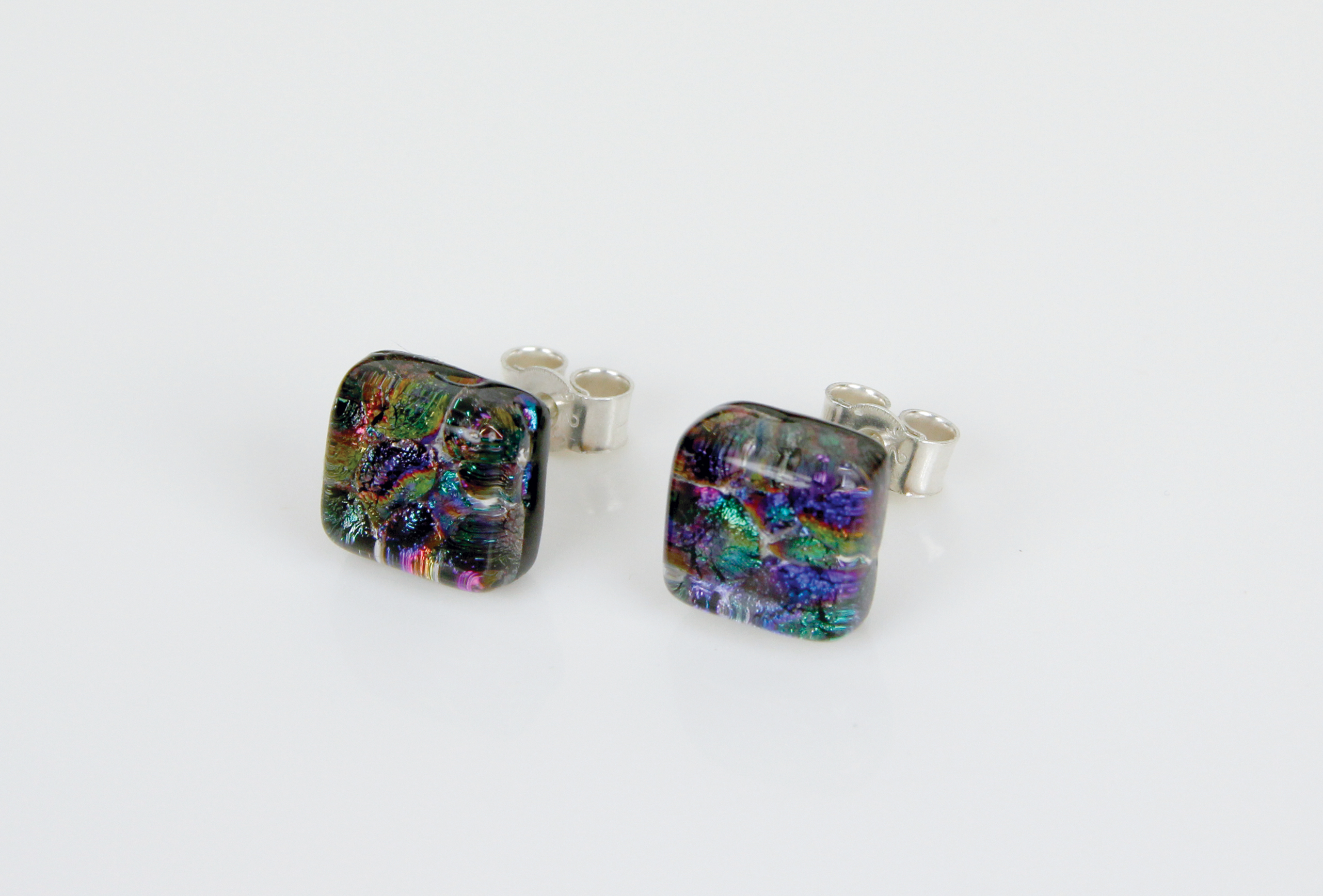 Dichroic glass jewellery uk, handmade stud earrings with reptilian coloured dichroic glass, square, sterling glass 7-10mm, silver posts.