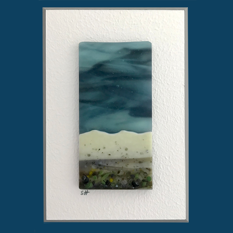 Seascapes fused glass wall art - calm sky, vanilla/greens/brown lilac specks in landscape.