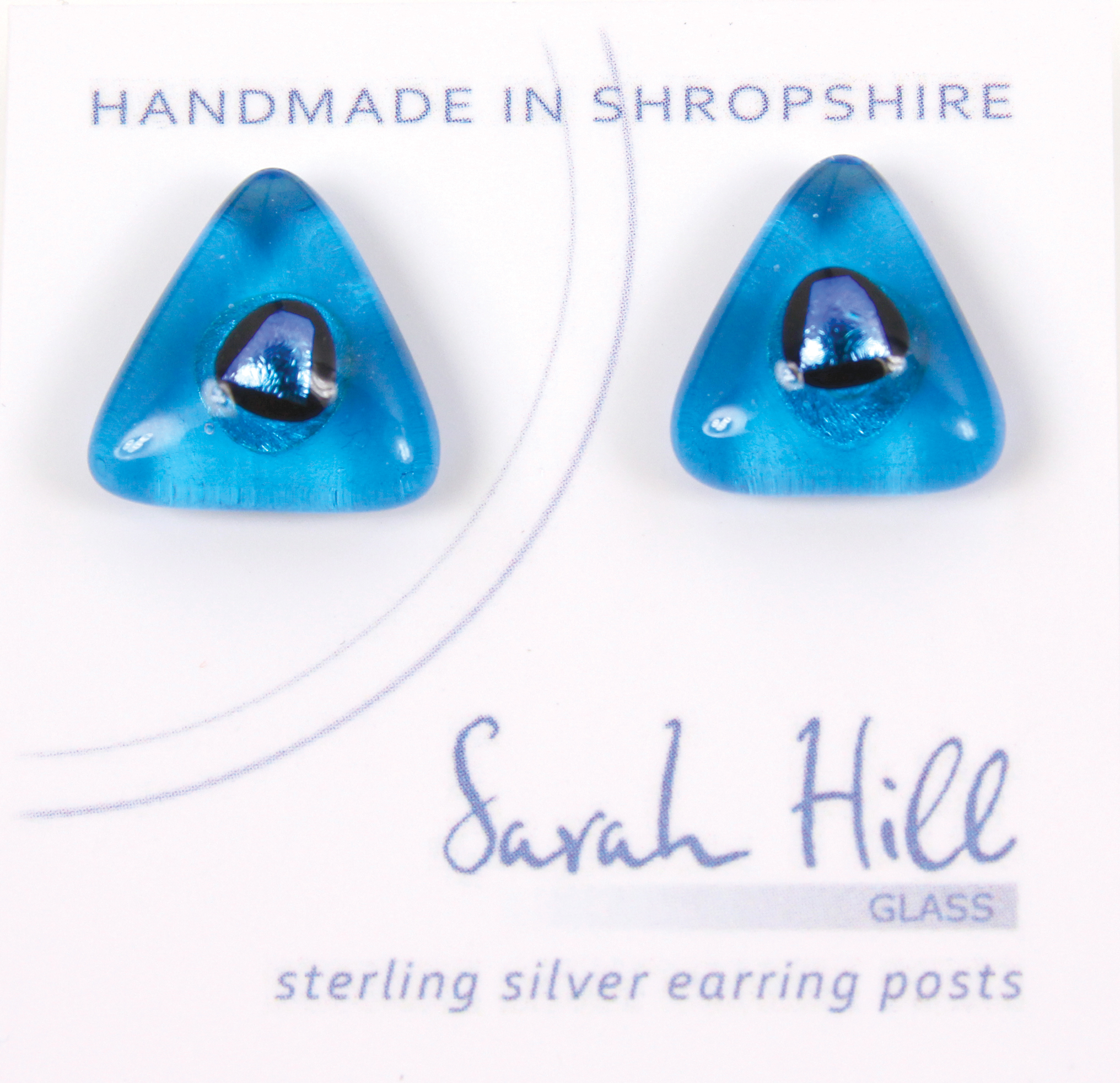 Dichroic glass jewellery uk, handmade turquoise triangle stud earrings blue dichroic spot, glass 14/15mm sides, sterling silver