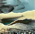 Glass Wall Art, snow landscapes with snow leaden sky clouds art, french vanilla and greens/grey with glass frits in foreground.