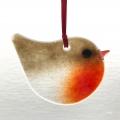 Glass robin christmas decoration, christmas gift, handmade glass decoration