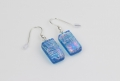 Dichroic glass jewellery, glass drop earrings, turquoise glass earrings with starburst pattern, art glass earrings, handmade in Shropshire, sterling silver hooks