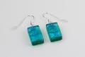 Dichroic glass jewellery, glass drop earrings, emerald green glass earrings with ripple, art glass earrings, handmade in Shropshire, sterling silver hooks
