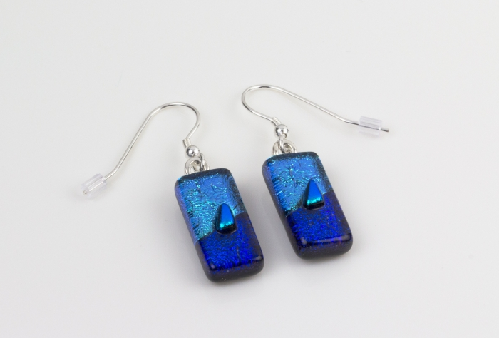 Dichroic glass jewellery drop earrings, tapered blue glass earrings in 3 tones of blue, art glass earrings handmade in Shropshire, sterling silver hooks