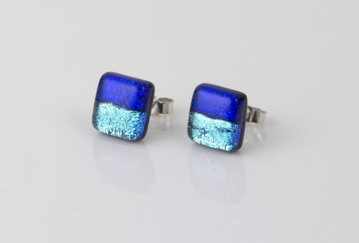 Dichroic glass jewellery uk, Handmade Stud Earrings 2 tone blue glass earrings with sterling silver posts, square, glass 8-10mm
