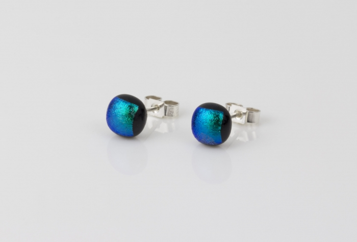 Dichroic glass jewellery uk, handmade stud earrings with dark green dichroic glass, round, sterling glass 7-9mm, silver posts.