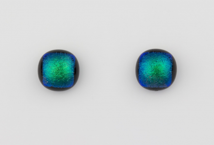 Dichroic glass jewellery uk, handmade stud earrings with green dichroic glass, round, sterling glass 7-9mm, silver posts.