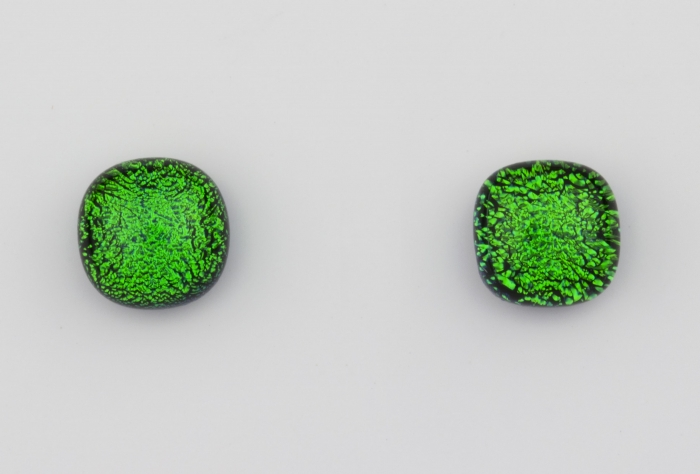 Dichroic glass jewellery uk, handmade stud earrings with emerald green dichroic glass, round, sterling glass 7-9mm, silver posts.
