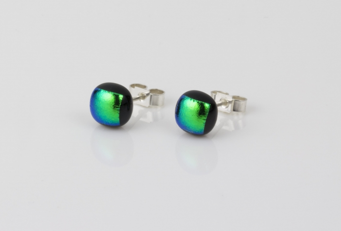 Dichroic glass jewellery uk, handmade stud earrings with bright green dichroic glass, round, sterling glass 7-9mm, silver posts.