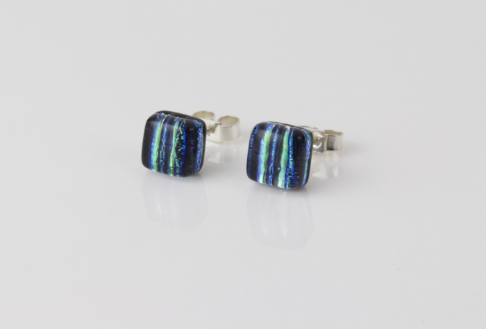 Dichroic jewellery uk, handmade stud earrings with striped green, yellow, black, blue. Square, glass 8-10mm, sterling silver