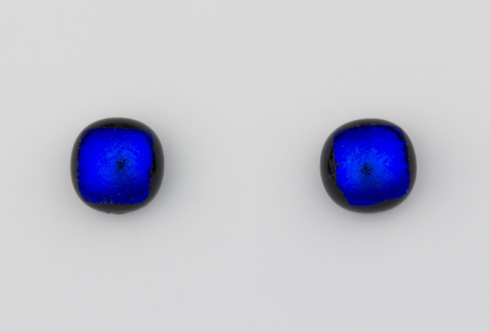 Dichroic glass jewellery uk, handmade stud earrings with lapis blue dichroic glass, round, sterling glass 7-9mm, silver posts.