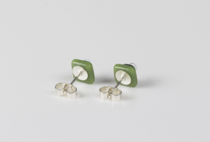 Dichroic glass jewellery uk, handmade stud earrings - green opal/dichroic/clear glass stack. 10mm square, sterling silver