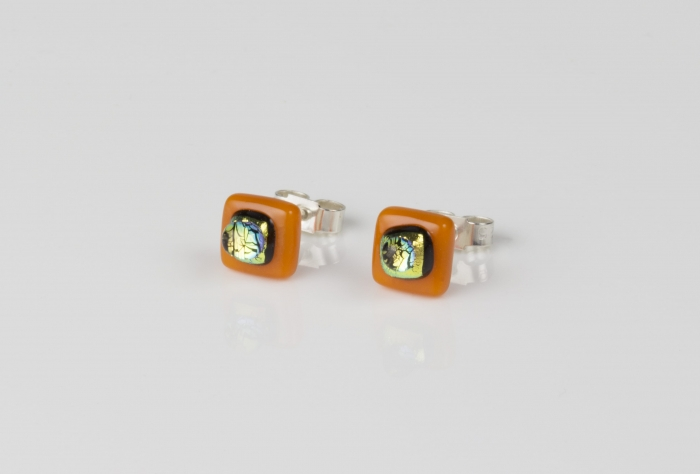 Dichroic glass jewellery uk, handmade stud earrings - orange opal/dichroic/clear glass stack. 10mm square, sterling silver