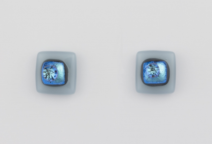 Dichroic glass jewellery uk, handmade stud earrings - turquoise opal/dichroic/clear glass stack. 10mm square, sterling silver