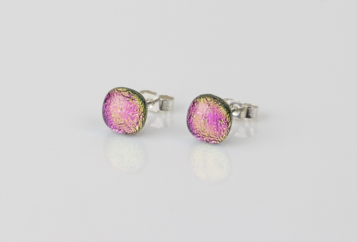 Dichroic glass jewellery uk, handmade stud earrings with hot pink dichroic glass, round, sterling glass 7-9mm, silver posts.