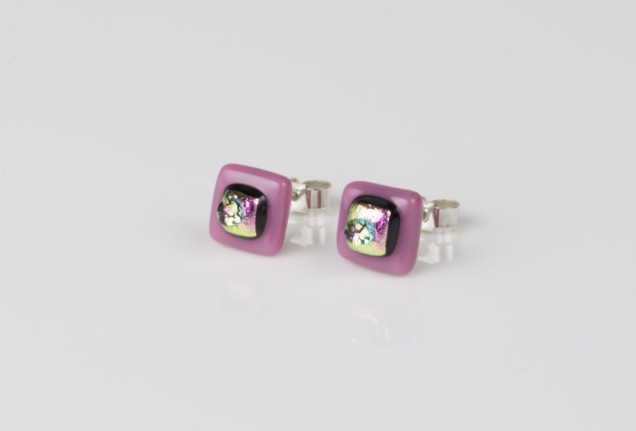 Dichroic glass jewellery uk, handmade stud earrings - pink opal/dichroic/clear glass stack. 10mm square, sterling silver