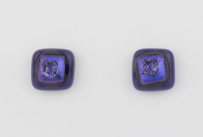 Dichroic glass jewellery uk, handmade stud earrings - purple opal/dichroic/clear glass stack. 10mm square, sterling silver