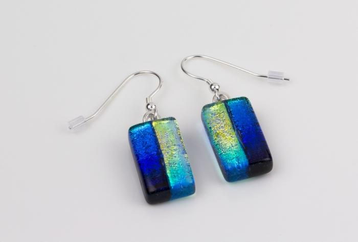 Dichroic glass jewellery drop earrings, rainbow glass earrings, art glass earrings handmade in Shropshire, sterling silver hooks