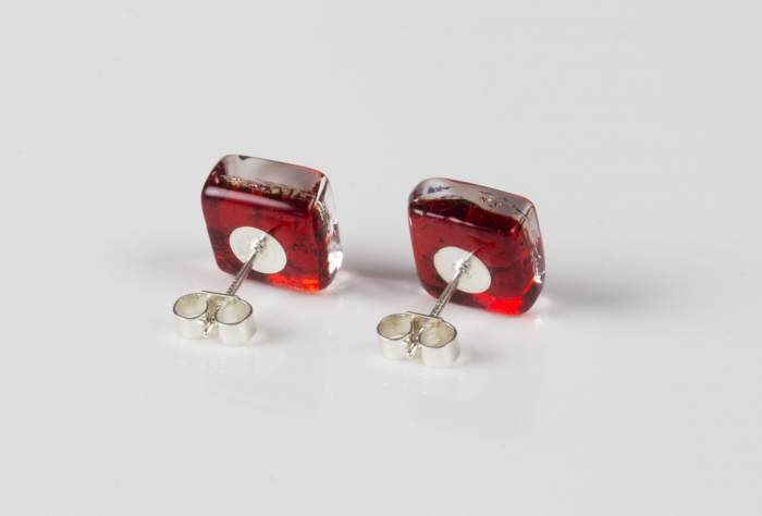Dichroic glass jewellery uk, handmade stud earrings - red topped with gold plume pattern. Square, glass 8-11mm, sterling silver