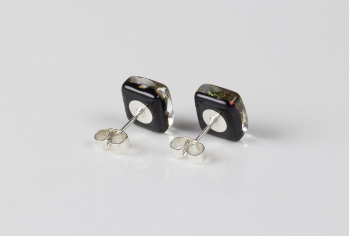 Dichroic glass jewellery uk, handmade stud earrings with striped pink, yellow, black, blue. Square, glass 8-10mm, sterling silver