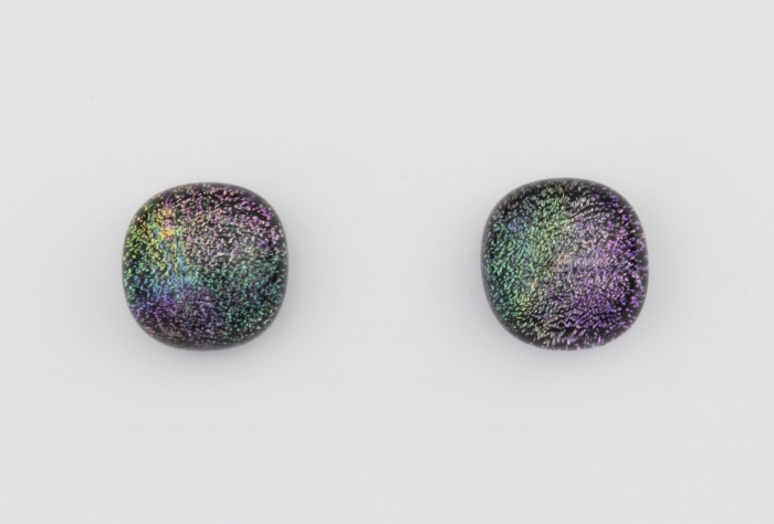 Dichroic glass jewellery uk, handmade stud earrings with reptilian coloured dichroic glass, round, sterling glass 7-9mm, silver posts.