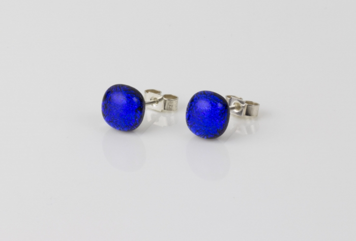 Dichroic glass jewellery uk, handmade stud earrings with blue dichroic glass, round, sterling glass 7-9mm, silver posts.