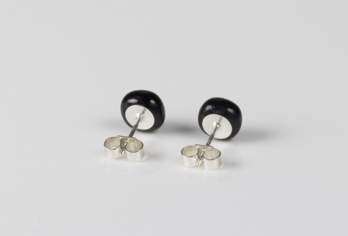 Dichroic glass jewellery uk, handmade stud earrings with salmon dichroic glass, round, sterling glass 7-9mm, silver posts.