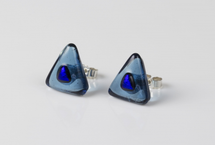 Dichroic glass jewellery uk, handmade sea blue triangle stud earrings blue dichroic spot, glass 14/15mm sides, sterling silver
