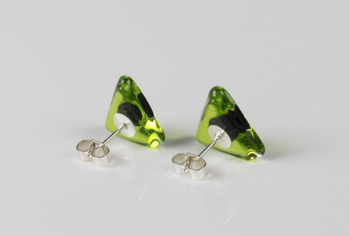 Dichroic glass jewellery uk, handmade spring green triangle stud earrings green dichroic spot, glass 14/15mm sides, sterling silver