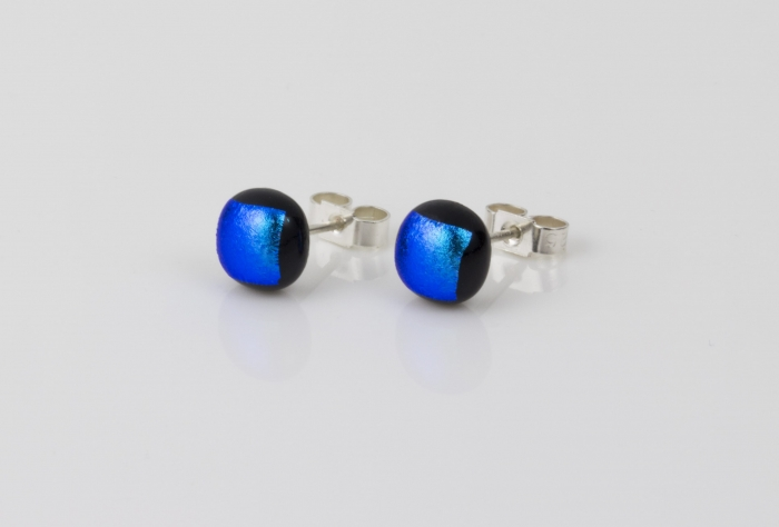 Dichroic glass jewellery uk, handmade stud earrings with teal blue dichroic glass, round, sterling glass 7-9mm, silver posts.